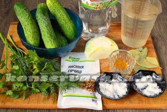 Ингредиенты для приготовления маринованных огурцов с горчицей