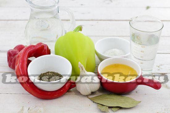 Ингредиенты для приготовления острой закуски с болгарским перцем