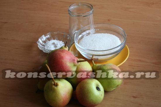Ингредиенты для приготовления варенья из груши