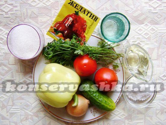 Ингредиенты для приготовления овощного желейного салата на зиму
