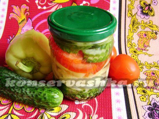 Желейный овощной салат на зиму