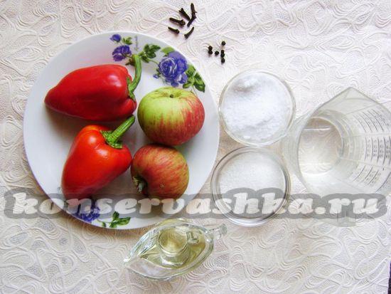 Ингредиенты для приготовления болгарского перца с яблоками на зиму