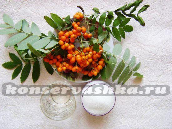 Ингредиенты для приготовления рябинового джема на зиму