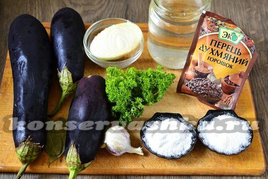 Ингредиенты для приготовления баклажан как грибов
