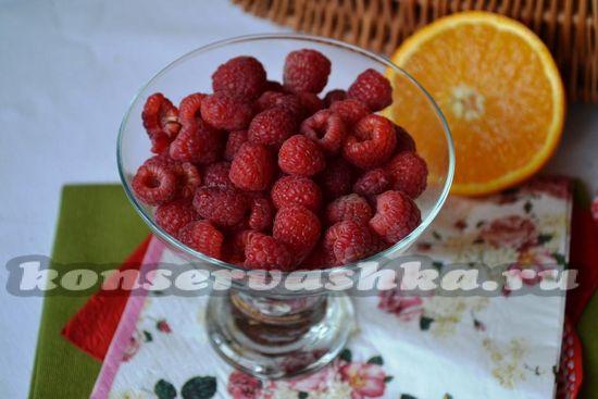 Ингредиенты для приготовления компота из малины с апельсином