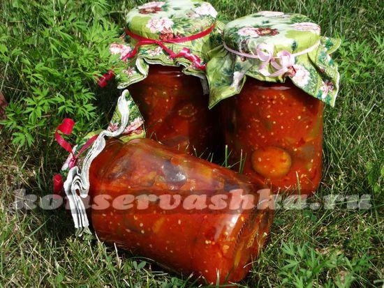 Острые баклажаны с болгарским перцем