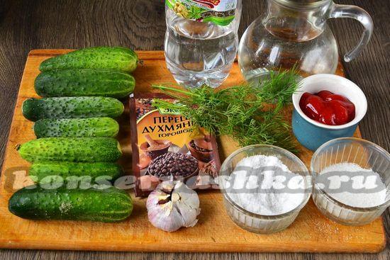 Ингредиенты для приготовления огурцов с кетчупом чили махеев на зиму
