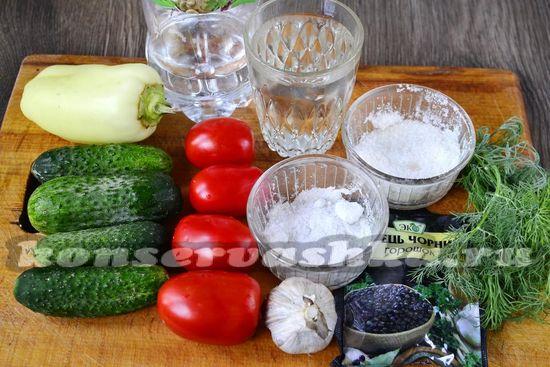 Ингредиенты для приготовления маринованных огурцов с помидорами