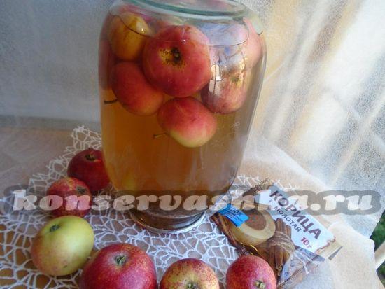 яблочный компот из яблок и корицы