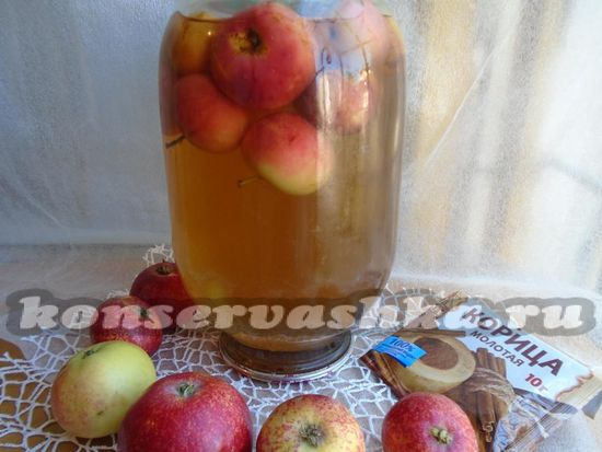 рецепт яблочного компота с корицей