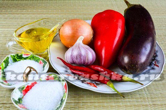 Ингредиенты для айвара из перца и баклажанов на зиму