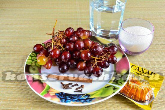 Ингредиенты для пьяного винограда на зиму