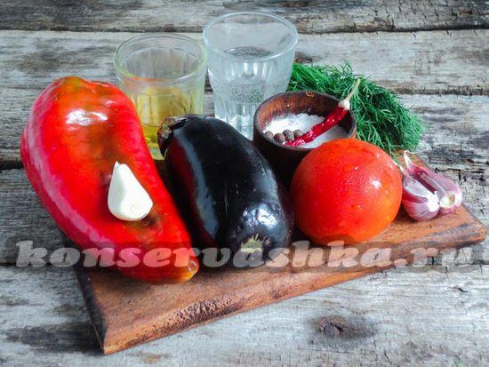 Ингредиенты для приготовления жаренных острых баклажан на зиму