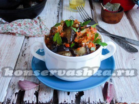 рецепт жареных баклажан в остром соусе на зиму