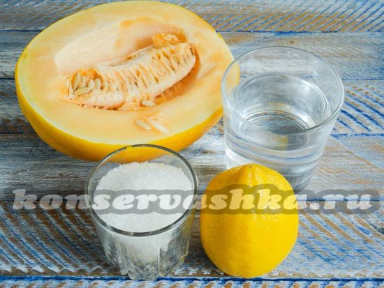 Ингредиенты для приготовления дыни в ванильном сиропе