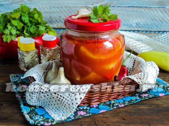 Рецепт Перец в томатном соке с чесноком на зиму