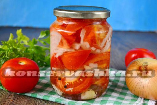 Рецепт помидоры дольками с луком и маслом на зиму