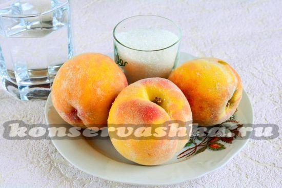Ингредиенты для приготовления половинок персиков на зиму