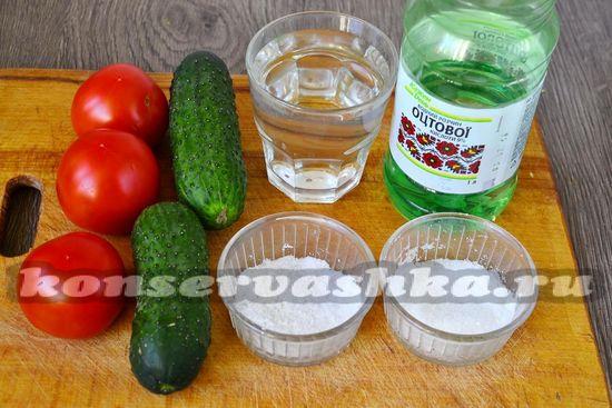 Ингредиенты для приготовления огурцов с помидорами на зиму