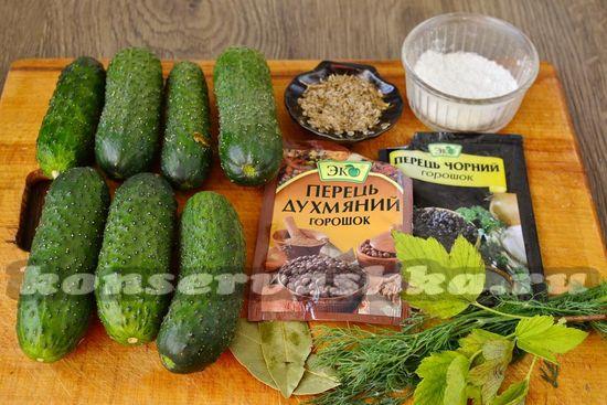 Ингредиенты для приготовления соленых огурцов