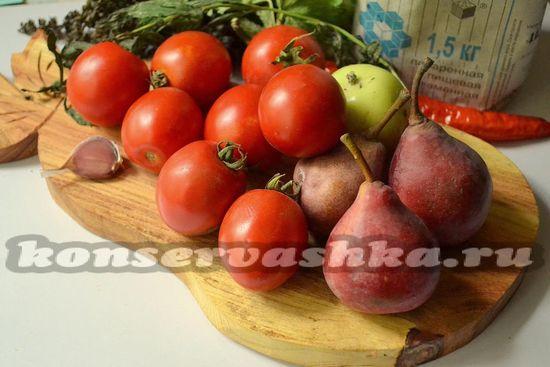 Ингредиенты для приготовления маринованных томатов с грушами