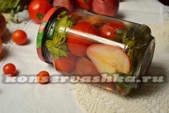 Маринованные томаты с грушей на зиму.