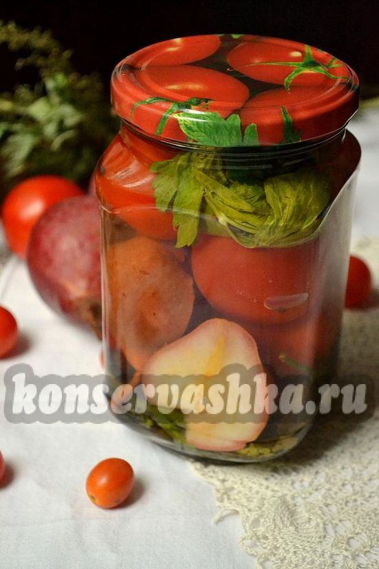 рецепт маринованных томатов с грушей на зиму.