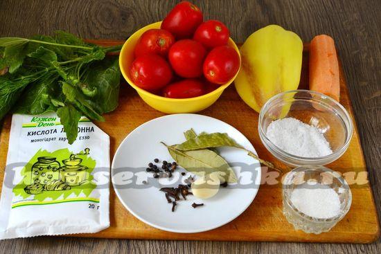 Ингредиенты для приготовления помидор с лимонной кислотой