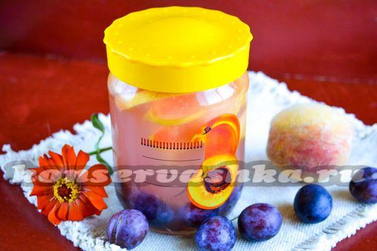 Рецепт компота из персиков и слив