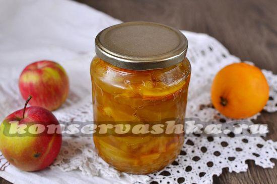 Рецепт варенья из яблок дольками прозрачное с апельсином