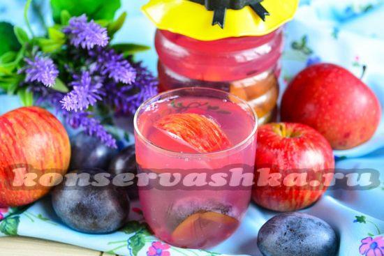 Рецепт натурального компота из слив и яблок