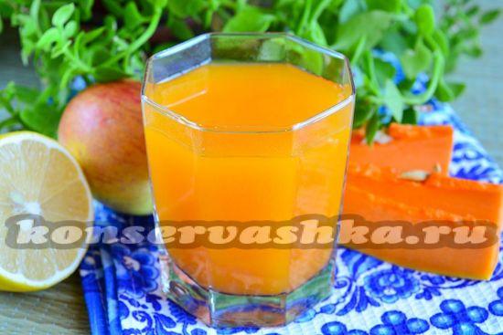 Рецепт сока из тыквы и яблок на зиму