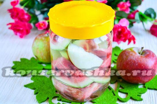 Рецепт маринованных арбузов с яблоками