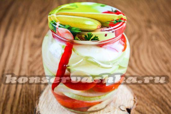 Рецепт салата из томатов и кабачков