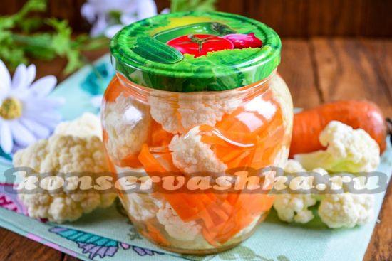 Рецепт маринованной цветной капусты с морковкой на зиму
