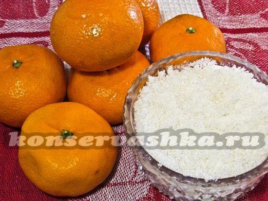 мандарины и сахар для варенья