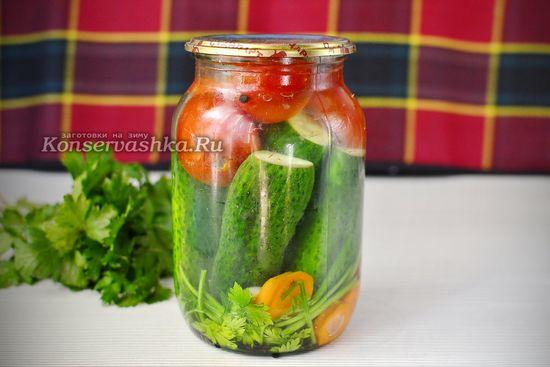 Ассорти помидоры и огурцы на зиму, рецепт на 1 литровую банку