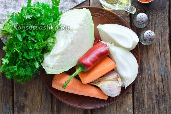 Ингредиенты для приготовления капусты быстрого посола