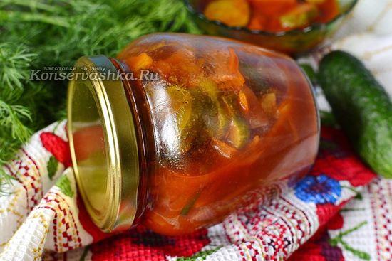 Лечо из огурцов с томатной пастой на зиму, рецепт без стерилизации