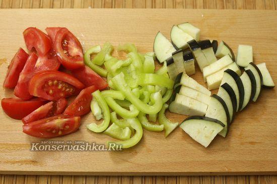 нарезали овощи