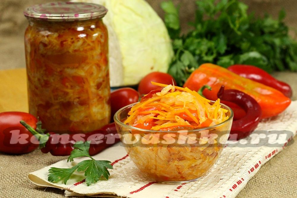 капуста перец помидор салат на зиму