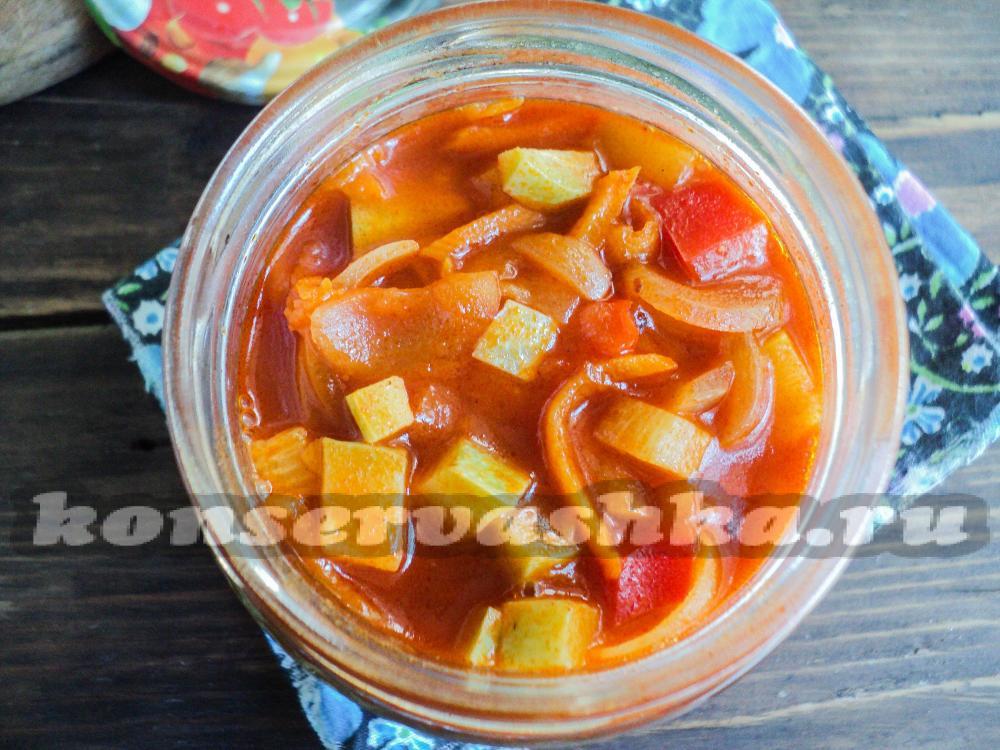 Лечо с томатной пастой и кабачками на зиму
