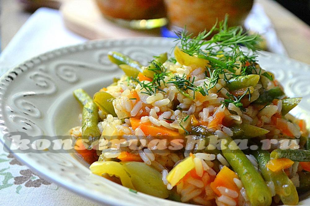 Салат на зиму с рисом и фасолью пошаговый рецепт с фото