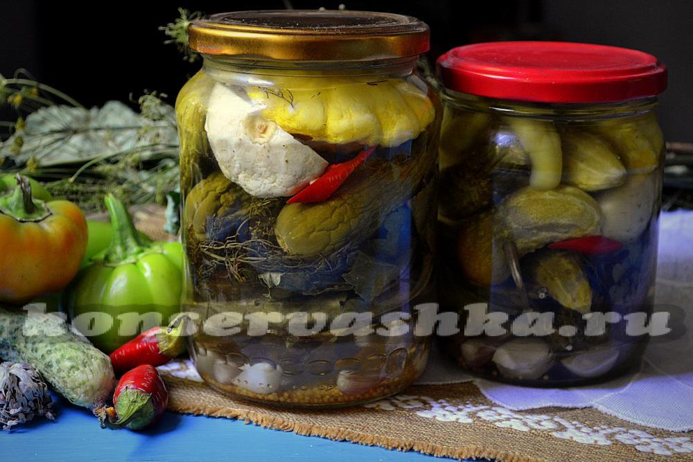 Рецепт маринованных огурцов с патиссонами