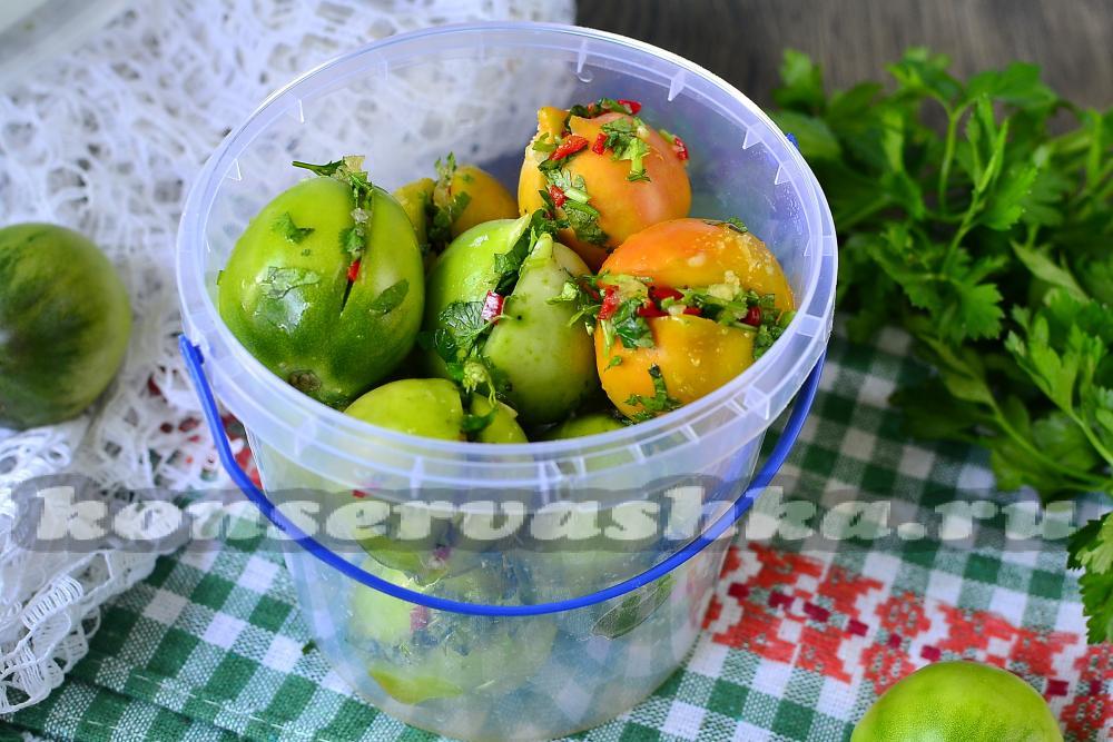 Рецепты закатки зеленых помидоров
