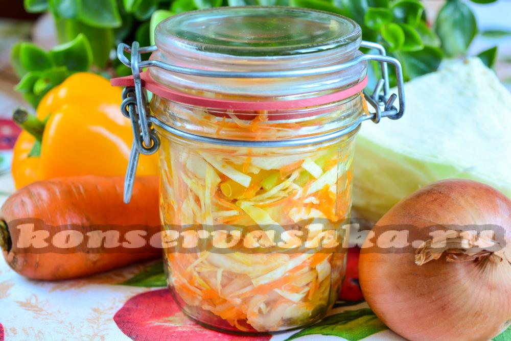 салат на зиму из капусты моркови и лука без стерилизации