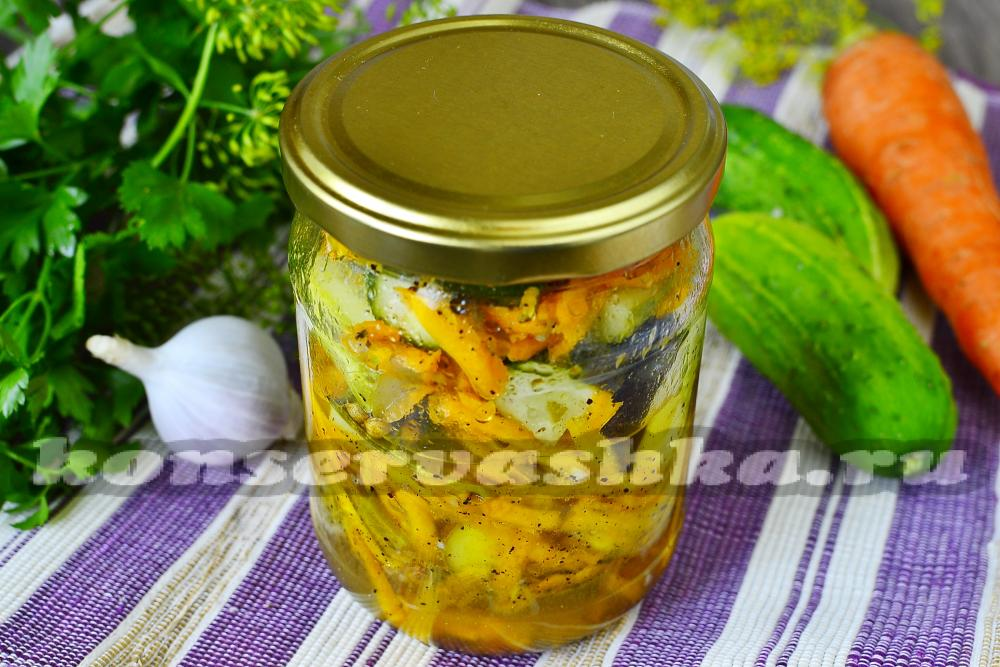 рецепт салата на зиму из огурцов моркови