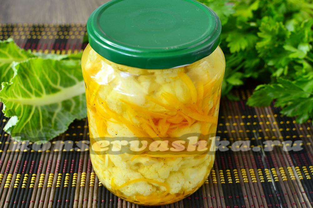 рецепт цветной капусты по-корейски на зиму в банках