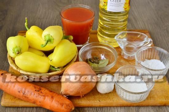 Ингредиенты для приготовления перца по-болгарски на зиму