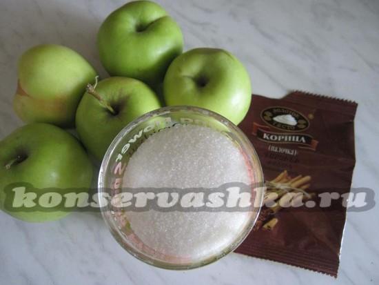 Ингредиенты для приготовления сухофруктов из яблок с корицей